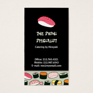 Oishii Sushi Fun Illustrations Pattern (Grey) Business Card