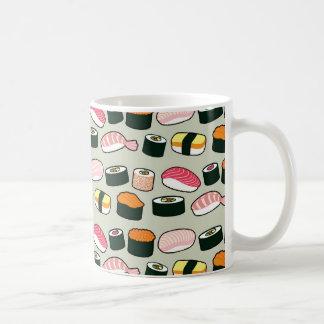 Oishii Sushi Fun Illustrations Pattern (Grey) Coffee Mug