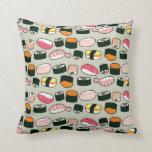Oishii Sushi Fun Illustrations Pattern (grey) Throw Pillow at Zazzle