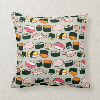 Oishii Sushi Fun Illustrations Pattern (Grey) Throw Pillow