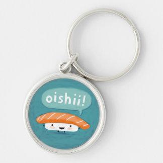 Oishii Sushi Silver-Colored Round Keychain