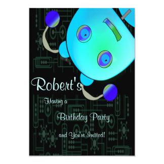 Ojeada adorable al cumpleaños azul del robot del invitación 12,7 x 17,8 cm