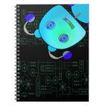Ojeada adorable un robot del azul del abucheo cuaderno