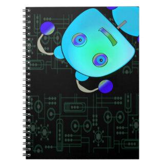 Ojeada adorable un robot del azul del abucheo libretas espirales