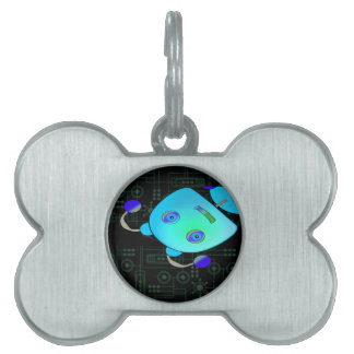 Ojeada adorable un robot del azul del abucheo placa mascota