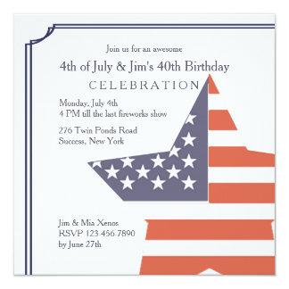 Ojeada de la invitación patriótica del cumpleaños