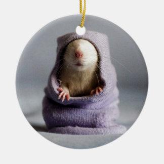 ojeada linda de la rata un abucheo adorno redondo de cerámica