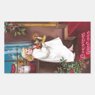 Ojeadas de Santa con navidad del vintage de la Pegatina Rectangular