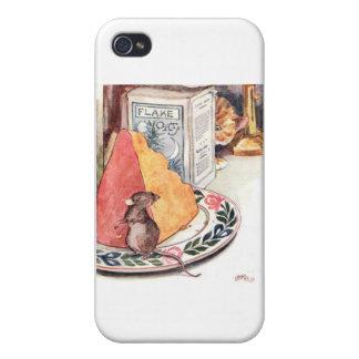 Ojeadas del gato en las ilustraciones del ratón iPhone 4 carcasa