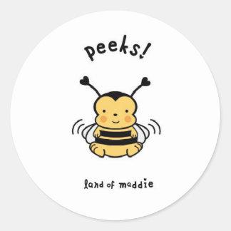 ¡Ojeadas! Manosee la abeja Pegatina Redonda