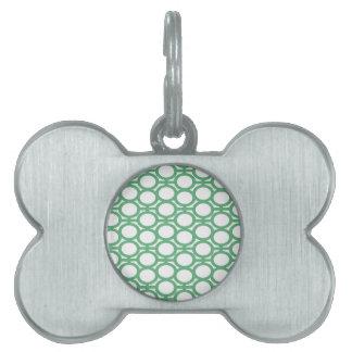 Ojeteador verdes y blancos de Seafoam Placa De Mascota