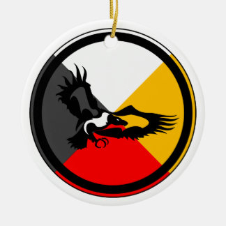 Ojibway Dodem Giniw Double-Sided Ceramic Round Christmas Ornament