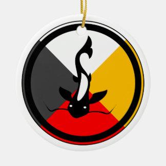 Ojibway Dodem Manaameg Double-Sided Ceramic Round Christmas Ornament