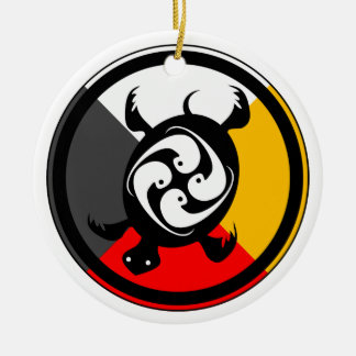 Ojibway Dodem Miskwaadesi Double-Sided Ceramic Round Christmas Ornament