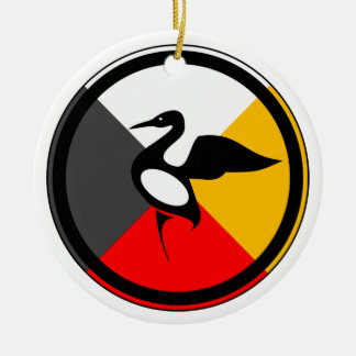 Ojibway Dodem Mong Double-Sided Ceramic Round Christmas Ornament