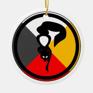 Ojibway Dodem Waabizheshi Double-Sided Ceramic Round Christmas Ornament