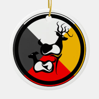 Ojibway Dodem Waawaasheshkiwag Double-Sided Ceramic Round Christmas Ornament