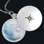"""Ojibwe (Chippewa) Healing Prayer Locket Necklace<br><div class=""""desc"""">This necklace has a closeup image of a light blue feather on a blurred background of pastel colors,  and a Native American Healing Prayer by the Ojibwe (Chippewa) people: Sacred one,  teach us love,  compassion and honor. That we may heal the earth and heal each other.</div>"""