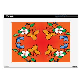 Ojibwe floral in orange laptop decal