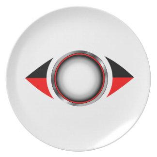 Ojo abstracto con el iris 3d platos de comidas