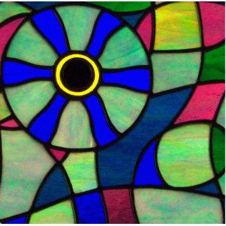 Ojo abstracto del camaleón del vitral fotoescultura vertical