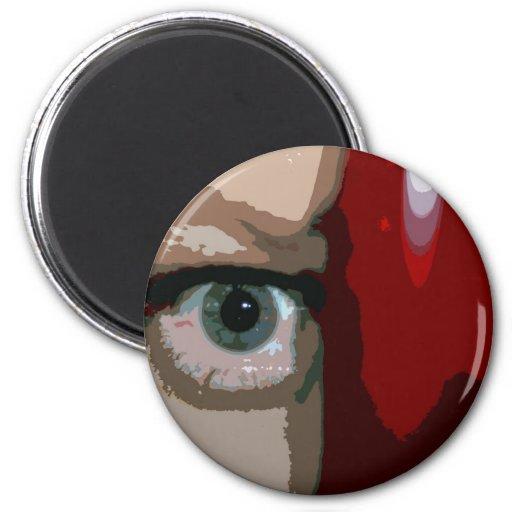 Ojo azul de detrás cierre rojo del bajo para arrib imán redondo 5 cm