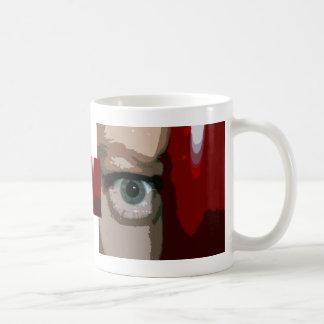 Ojo azul de detrás cierre rojo del bajo para arrib taza básica blanca