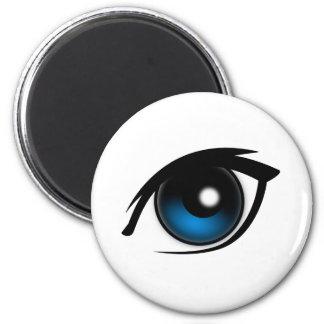 Ojo azul del dibujo animado imán redondo 5 cm