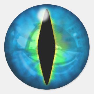 Ojo azul del dragón pegatina redonda