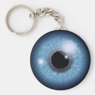 ojo azul, llavero redondo tipo pin