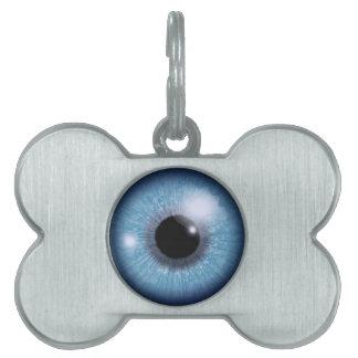 ojo azul placa de nombre de mascota