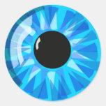 Ojo azul pegatinas redondas