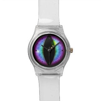 Ojo azul y púrpura de los dragones reloj de mano