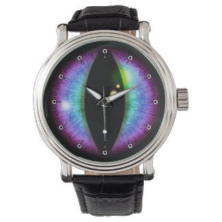 Ojo azul y púrpura de los dragones relojes de mano