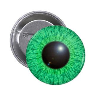 Ojo azulverde con el botón de la llamarada pin redondo de 2 pulgadas