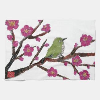 Ojo blanco, árbol de ciruelo, pájaro toallas de mano