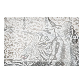 ojo blanco del amarillo del bosquejo del tigre  papeleria