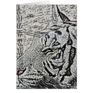 ojo blanco del amarillo del bosquejo del tigre tarjeta de felicitación