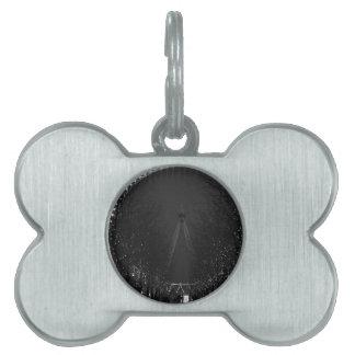 Ojo blanco y negro de Londres Placa De Mascota