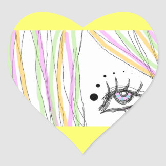 Ojo colorido calcomanía de corazón