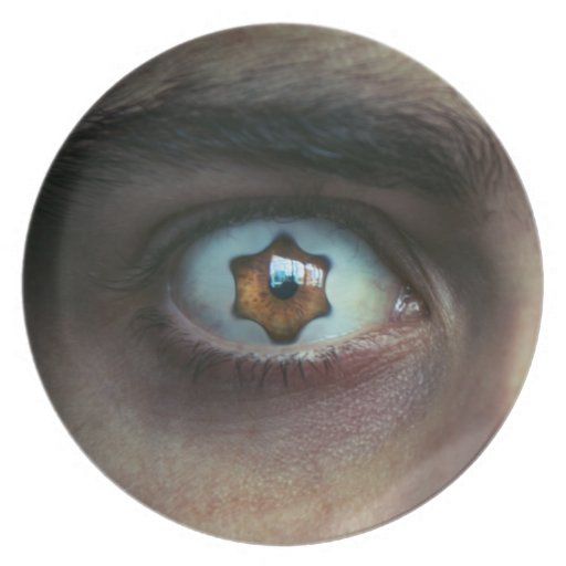 Ojo con el iris asteroide plato de comida