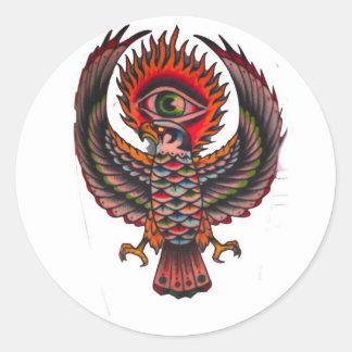 ojo de águila etiqueta redonda