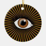 Ojo de Brown de Horus Adorno Navideño Redondo De Cerámica