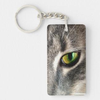 Ojo de gato afortunado llavero rectangular acrílico a doble cara