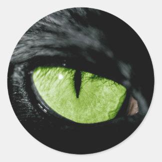 Ojo de gato pegatina redonda