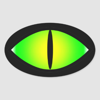 Ojo de gato verde pegatina ovalada