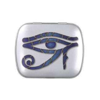 Ojo de Horus - Blue1 profundo - lata del Belly de Jarrones De Caramelos