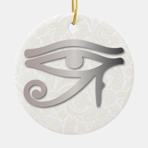 Ojo de Horus - humo 1 - ornamento Adorno Navideño Redondo De Cerámica