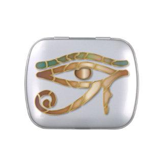 Ojo de Horus - oro 1 azulverde - lata del Belly de Frascos De Caramelos