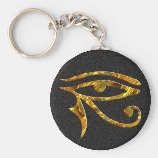 Ojo de Horus - ORO Llavero Redondo Tipo Pin